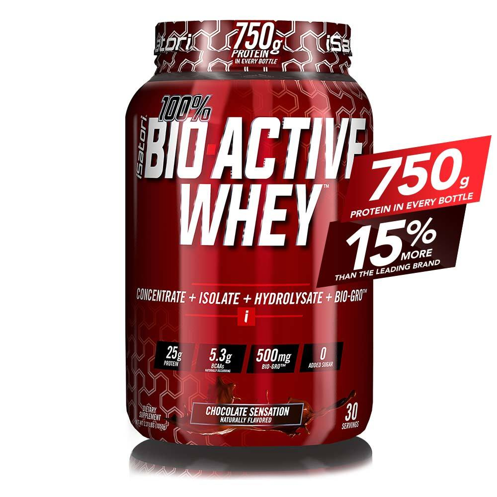 iSatori 100% BIO-ACTIVE WHEY Elite Whey Protein Formula with Added BIO-GRO FOR Strength, Muscle and Recovery - Chocolate / 30 Servings