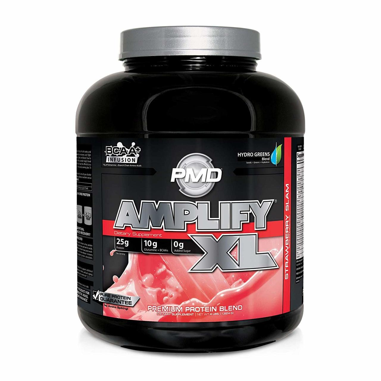 PMD Sports AMPLIFY XL Superior Protein Matrix with Added Green for Muscle, Strength and Recovery - Strawberry Slam / 48 Servings