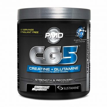 PMD Sports CG5 Premium Creatine/Glutamine Formula for Maximum Strength, Power and Recovery - Unflavored / 60 Servings